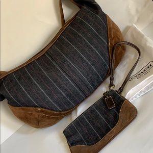 Coach Denim Suede Bundle Hobo Bag Wristlet set